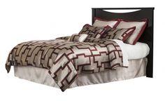 Zanbury Merlot Black Wood King/Cal King Headboard W/Bolt On Bed Frame