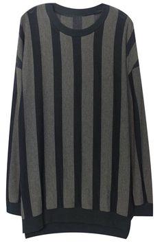 ROMWE | Split Asymmetric Black-grey Sweatshirt, The Latest Street Fashion