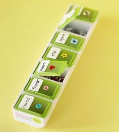 Pill box for small scrapbook supplies