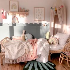 Discover beautiful girls bedroom decor inspiration and shop pretty pink wall art prints. Child's rattan bed with scallop