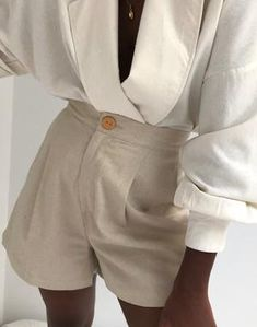 Na Nin Oliver Linen Cotton Shorts / Available in Stone & Wheat – NA NIN Easy Wear, Cotton Shorts, Cotton Linen, Short Dresses, My Style, Tees, How To Wear, Clothes, Collection