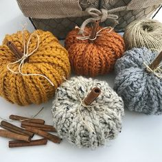Crochet a Bulky & Quick Pumpkin. Adds a rustic homemade touch to your Fall decor. This is an easy crochet pattern that works up quick! Make 2 different sizes in various colours for festive home decor Diy Pumpkin, Pumpkin Crafts, Adornos Halloween, Halloween Crafts, Crochet Fall, Fabric Pumpkins, Lion Brand Yarn, Easy Crochet Patterns, Crochet Pumpkin Pattern