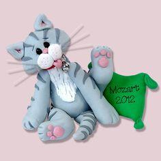 Grey Tabby  KITTY CAT HANDMADE Polymer Clay Personalized Christmas Ornament