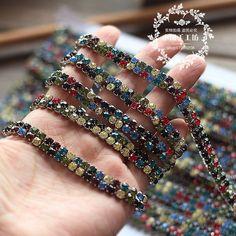 7 мм шириной двухрядные цепи кружева горный хрусталь коготь цепь украшения свадебное платье аксессуары одежды DIY