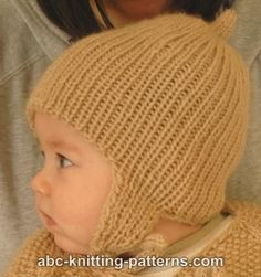 Ribbed Baby Earflap Hat FREE PATTERN ABC Knitting Patterns -.