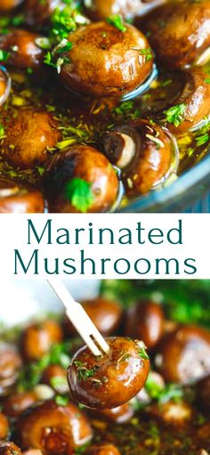 The Best Marinated Mushrooms Recipe – learn how to make these marinated mushrooms in less than 15 minutes. Great for appetizer platters and parties. Restaurant style, very easy to make at home. Mushroom Appetizers, Vegetarian Appetizers, Mushroom Recipes, Veggie Recipes, Appetizer Recipes, Vegetarian Recipes, Cooking Recipes, Healthy Recipes, Potluck Recipes