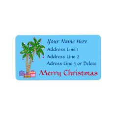 Shop Christmas Tropical Address Labels with YOUR TEXT created by LittleLindaPinda. Personalize it with photos & text or purchase as is! Mailing Address Labels, Custom Address Labels, Return Address Labels, Beach Christmas, Christmas Tag, Little Linda, Christmas Address Labels, Cheer Up, Beach Themes