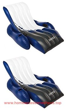 Intex Inflatable Floating Comfortable Recliner Lounges With Cup Holders (2  Pack) BUY NOW $44.99 Get Ready To Lounge It Up With A Pal Out On The Water  With ...