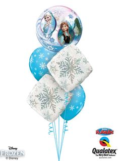 This magic bouquet of balloons showcases a Bubble Balloon® featuring Elsa and Anna* with snowflake-patterned Microfoil® and latex balloons. *Disney licensed product ** not a Disney licensed product ©Disney Disney Princess Birthday, Frozen Birthday, 2nd Birthday Parties, Birthday Ideas, Its A Boy Balloons, Bubble Balloons, Latex Balloons, Frozen Centerpieces, Balloon Decorations