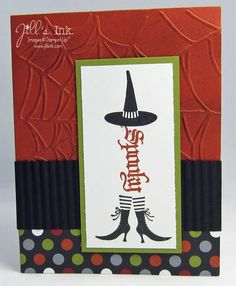 "I love how this handmade Halloween card uses a ""spooky"" stamp in such a clever way - as the body of a too cool witch!  The witch hat and boots and web-embossed background make this one of my favorite cards."