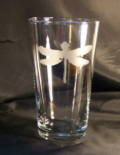 Coheed and Cambria  Dragonfly logo  etched pint by aStickyEnding, $8.00