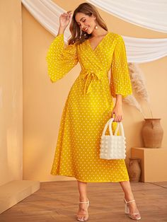 Débardeur Femmes Col V broderie détails Belted Long Sleeve Maxi Dress Jilbab