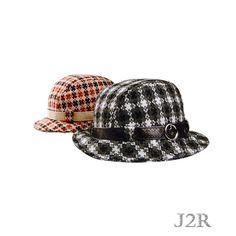 c163f18feeadc Wool Plaid Bucket Fedora Hat for Women Leather Belt Hat Band 7 1 4 J2R  JRFF010