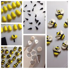 Bumble Bee Cupcake Toppers: Want to make some bees to decorate your cakes or cupcakes!You will need:Yellow sugarpasteBlack sugarpasteWhite sugarpasteSmall circle cutter or piping tipSmall rolling pinSharpe knife or scalpelEdible gluePicture of Bumble Bee Cake Decorating Techniques, Cake Decorating Tips, Cookie Decorating, Fondant Bee, Fondant Toppers, Fondant Cakes, Bee Cakes, Cupcake Cakes, Rose Cupcake