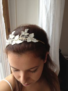 Items similar to Grecian headband gold and white lace headband Hair bridal headpiece weddings bride on Etsy Headpiece Wedding, Bridal Headpieces, Bridal Hair, Lace Headbands, Headband Hairstyles, White Lace, Weddings, Trending Outfits, Unique Jewelry