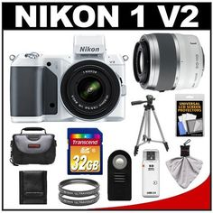 "Nikon 1 V2 Digital Camera Body with 10-30mm VR Lens (White) with 30-110mm VR Lens + 32GB Card + Case + Tripod + 2 Filters + Accessory Kit by Nikon. $999.95. Kit includes:♦ 1) Nikon 1 V2 Digital Camera Body with 10-30mm VR Lens (White)♦ 2) Nikon 1 30-110mm f/3.8-5.6 VR Nikkor Lens (White)♦ 3) Transcend 32GB SecureDigital Class 10 (SDHC) Card♦ 4) Sunpak 40.5mm Ultraviolet Glass Filter♦ 5) Additional Sunpak 40.5mm Ultraviolet Glass Filter♦ 6) Zeikos 50"" Compact Tra..."