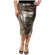 7389acaca57 Kiyonna Baroque Sequin Pencil Skirt Women s Skirt ( 98) ❤ liked on Polyvore  featuring plus