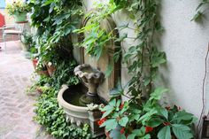 Sunny Simple Life: Quiet Corner, vines on wall, fountain, brick patio, peaceful setting