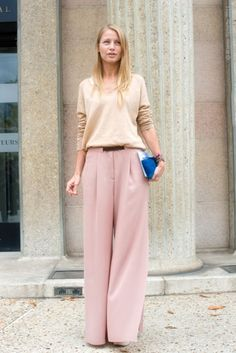 Blush is the new black.  Go tonal with wide-leg crepe pants and a slouchy  yet simple cashmere scoop-neck.