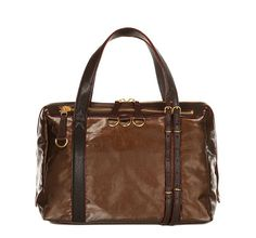 This bag is absolutely gorgeous in person!  MIDNIGHT BRONZE WASHED TWILL W CHOCOLATE COLETTE