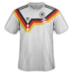 West Germany home shirt for the 1990 World Cup Finals. International Football, World Cup Final, Football Shirts, Finals, Germany, Adidas, Sports, Mens Tops, Fashion