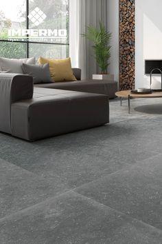 Woonkamer grote vloertegels met stoere gekartelde randen | Woonkamer ...