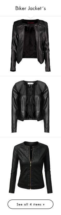"""Biker Jacket´s"" by marilin-fustamante on Polyvore featuring outerwear, jackets, leather jackets, coats & jackets, chaquetas, vegan leather moto jacket, quilted bomber jacket, vegan moto jacket, faux leather jacket y wrap jacket"