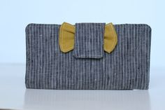 Organizational Mustard and Grey striped bow wallet. Also perfect for for cash budgeting, coupons, or even sorting receipts.