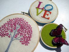 hand embroidered Tree  LOVE and Butterfly Hoop Art 3 by mlmxoxo