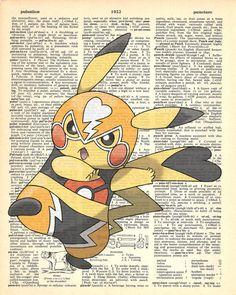 Lucha Pikachu Pokemon Dictionary Art Print by MollyMuffinsPrints