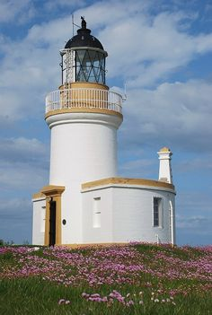 CHANONRY lighthouse .Moray Firth between Fortrose and Rosemarkie on the Black Isle, Scotland.-