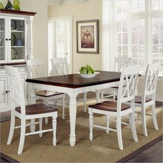 Lowest price online on all Home Styles Monarch 7 Piece Dining Set in White and Oak Finish - 5020-309