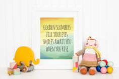 Golden Slumbers - The Beatles - Nursery Art Print - 8x10 Wall Art - Kids Wall Decor - Watercolor Rainbow Art Print - Childrens Room Decor by ShopLilRoo on Etsy https://www.etsy.com/listing/247168088/golden-slumbers-the-beatles-nursery-art