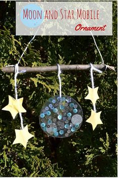 Moon and Star Mobile Ornament - based off Eric Carle's book Papa, Please Get the Moon for Me