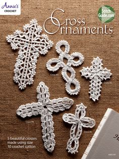 Cross Ornaments These 5 beautiful crosses are stitched using size 10 crochet thread. They make wonderful bookmarks, ornaments and gifts. Sizes range from 3 x 5 to x Annie's Crochet, Crochet Cross, Crochet Gifts, Filet Crochet, Crochet Flowers, Crochet Coaster, Doilies Crochet, Crochet Edgings, Crochet Thread Patterns