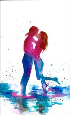 Love Kiss Romance Watercolor Original Illustration  by LanasArt