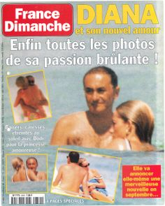 Quelques jours à peine avant la tragédie, la presse mondiale publie les clichés de Mario Brenna montrant Lady Diana et Dodi plus amoureux que jamais. France Dimanche en fait sa couverture. Princess Diana And Dodi, Diana Dodi, Princess Diana Death, Princess Of Wales, My Princess, Karen Spencer, Charles Spencer, Diana Spencer, Lady Diana