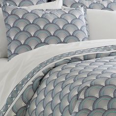Jonathan Adler Navy And Turquoise Fish Scale Duvet Cover in All Bedding