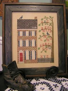 Old Town Sampler is the title of this cross stitch pattern from The Nebby Needle that is stitched with Gentle Art Sampler threads (Brick Pat...