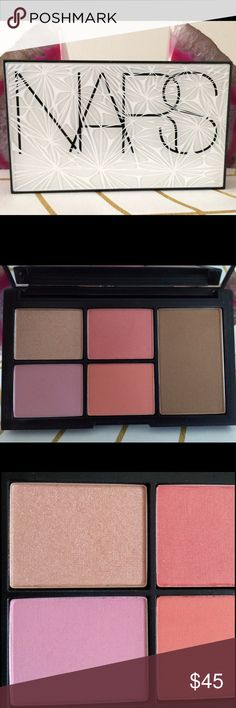 """NARS Limited Edition Virtual Domination Palette NARS Virtual Domination Blush and Bronzer Palette, Limited Edition. New and unused, no box. Product value is a whopping $160.00! Includes a highlighter, three blushes, and a bronzer. Miss Liberty is soft shimmering peach, Deep Throat is a """"flirty sheer peach, Laguna is a diffused brown powder with golden shimmer, the most popular bronzer, Sex Fantasy is a pale lavender pink and Final Cut is a peach coral. [Bonus: Samples inc with all beauty…"""