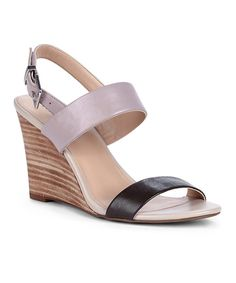 Look at this Bark Fudge Gwyneth Leather Wedge Sandal on #zulily today!