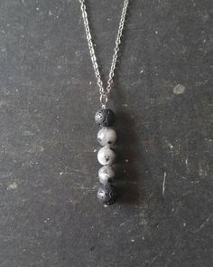 Essential Oil Necklace Diffuser --- Moonphase Lava Rock Stainless Steel Aromatherapy Jewelry pendant with Larvikite