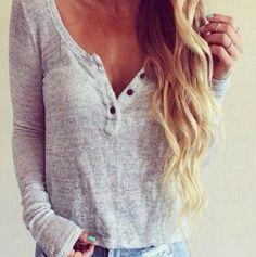 V-neck buttons long-sleeved Shirt Blouse Tops