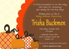 Little Pumpkin Baby Shower Invitation Pumpkin