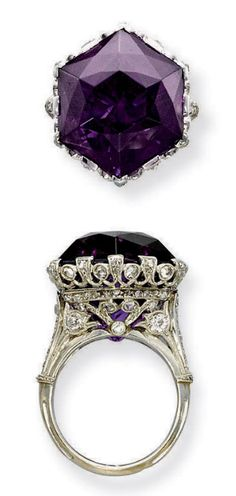 A BELLE EPOQUE AMETHYST AND DIAMOND RING Set with an hexagonal amethyst to the openwork millegrain diamond-set gallery and half-hoop, circa 1915, ring size 7, with French assay marks for platinum and gold.