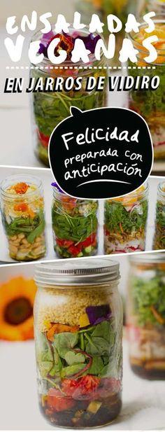 ¡Felicidad preparada con anticipación! Ensaladas veganas en jarros de vidrio Vegetarian Recepies, Delicious Vegan Recipes, Raw Food Recipes, Veggie Recipes, Vegan Vegetarian, Cooking Recipes, Healthy Recipes, Veggie Meal Prep, Deli Food