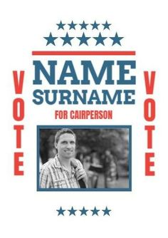 Photo Creative Vote blue red stars with large surname text Student Council Posters, Surnames, Stars, Creative, Red, Blue, Design, Sterne, Rouge