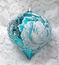 Turquoise Hand Painted White MUD Texture Floral Design Ornament with Rhinestones 316 by MargotTheMUDLady on Etsy