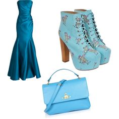 Blue blue blue my sis made this  by iamdeshanti on Polyvore featuring polyvore, fashion, style, Badgley Mischka, Jeffrey Campbell and Vivienne Westwood