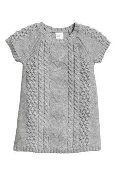 Natural White Pattern-Knit Dress, Would - Marecipe Baby Girl Dresses, Baby Dress, The Dress, Knitting For Kids, Baby Knitting, Toddler Outfits, Kids Outfits, Knit Vest Pattern, Pull Bebe
